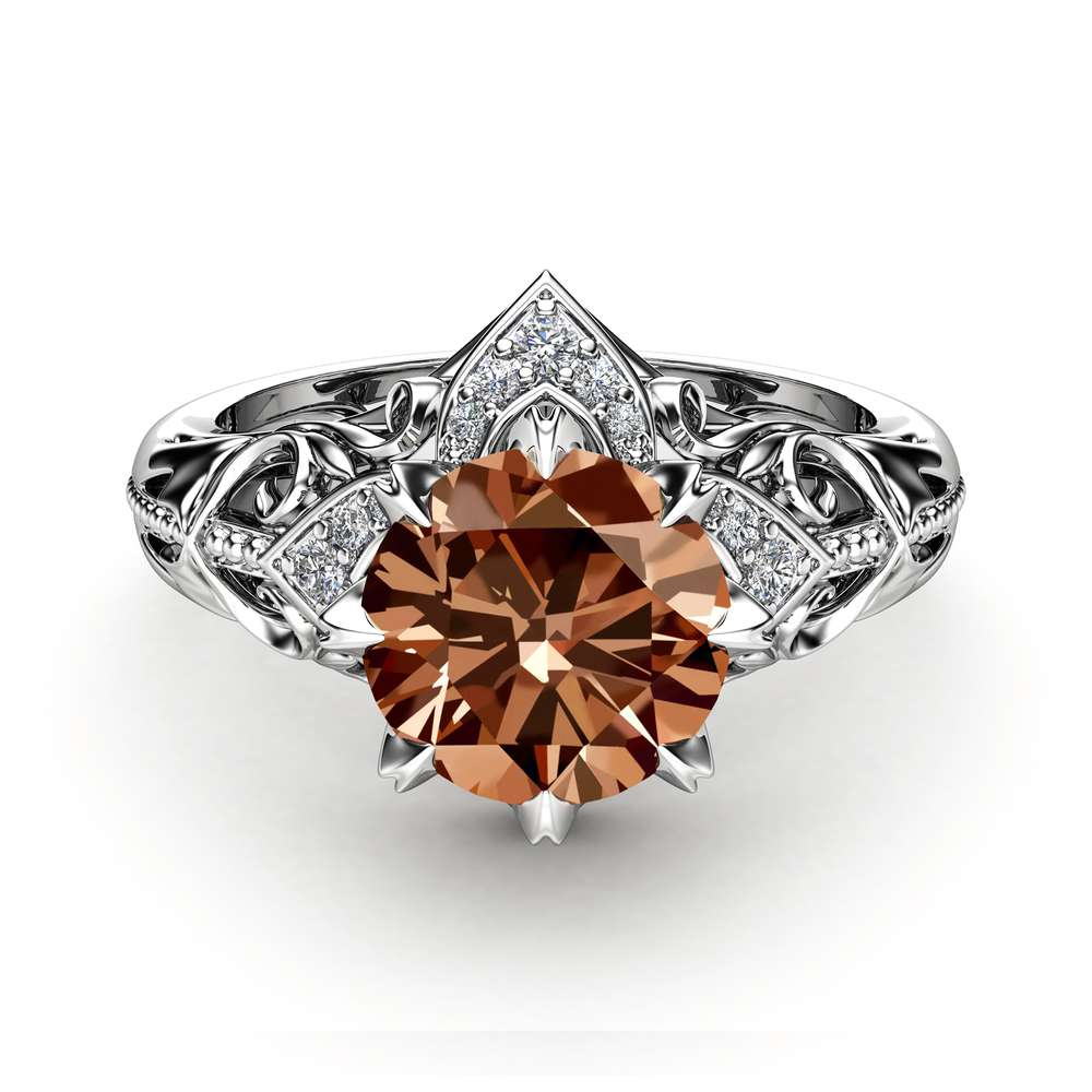 Chocolate Diamond Estate Engagement Ring 14K White Gold Ring  Fancy Brown Natural Diamond Ring