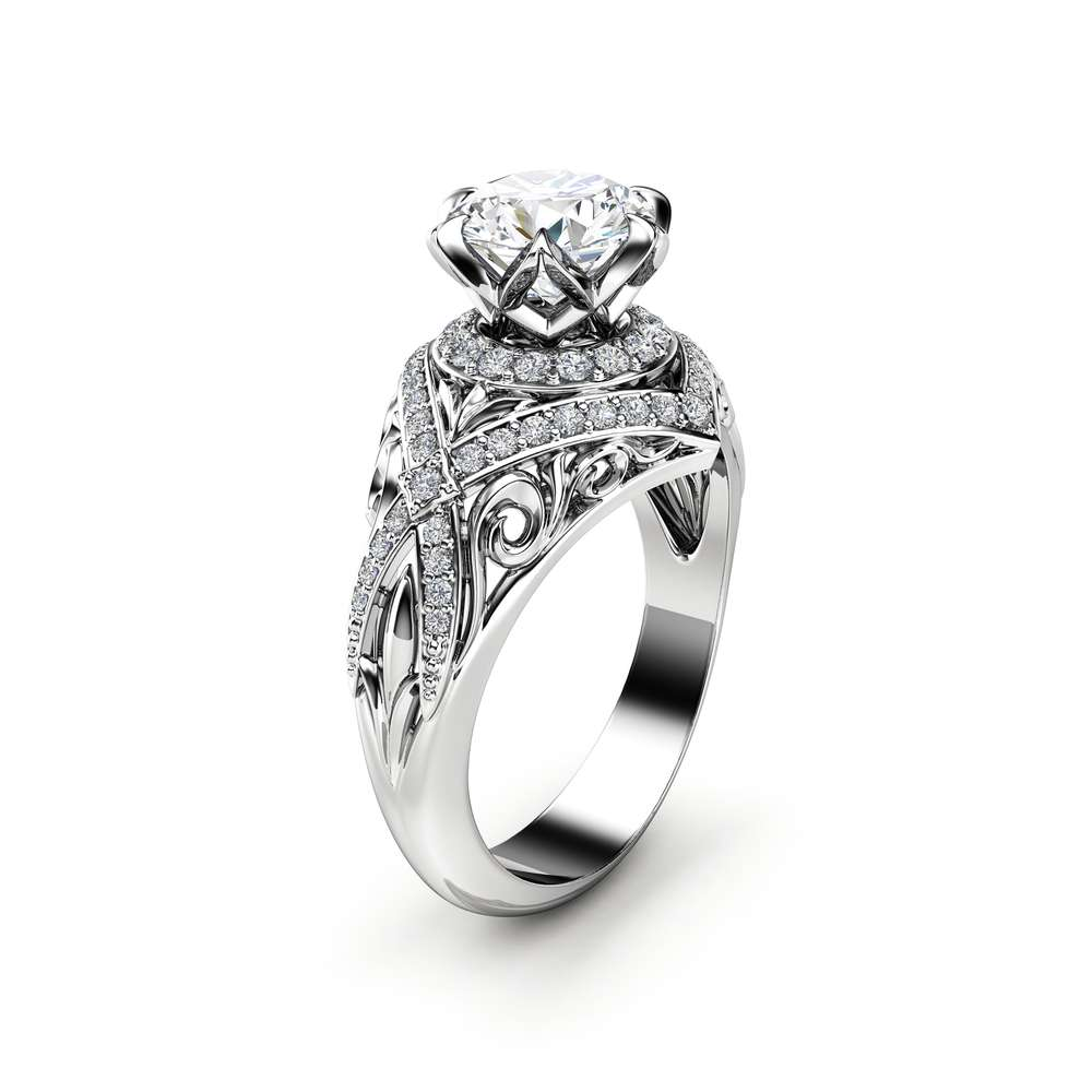 Unique Moissanite Engagement Ring 14K White Gold Ring Unique Leaves Filigree Ring Anniversary Gift