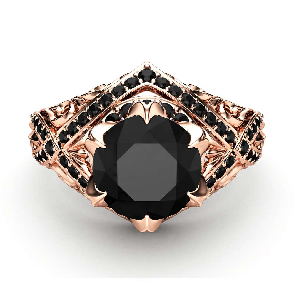 Black Diamond Engagement Ring 14K Rose Gold Ring Edwardian Ring Color Enhanced Natural Diamonds Ring