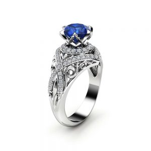 Natural Blue Sapphire Engagement Ring 14K White Gold Ring Unique Edwardian Engagement Ring