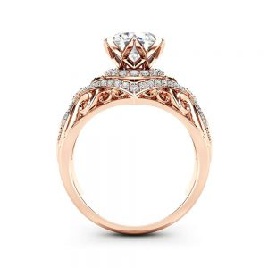 Unique Rose Gold Engagement Ring Forever One Moissanite Ring Edwardian 14k Rose Gold Engagement Ring