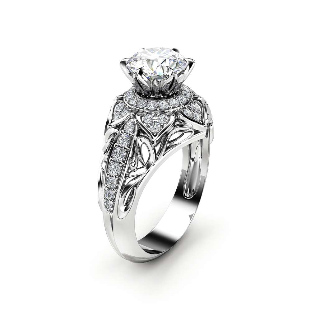 Moissanite Halo Engagement Ring 14K White Gold Art Deco Ring Moissanite and Diamonds Wedding Ring