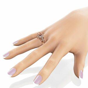 Morganite Halo Engagement Ring 14K Rose Gold Art Deco Ring Morganite and Diamonds Wedding Ring