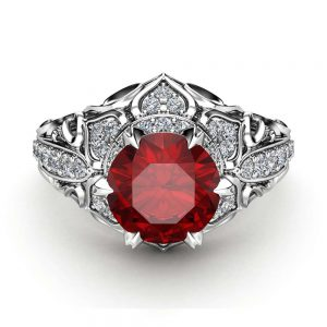 Ruby Halo Engagement Ring 14K White Gold Art Deco Ring Ruby and Diamonds Wedding Ring