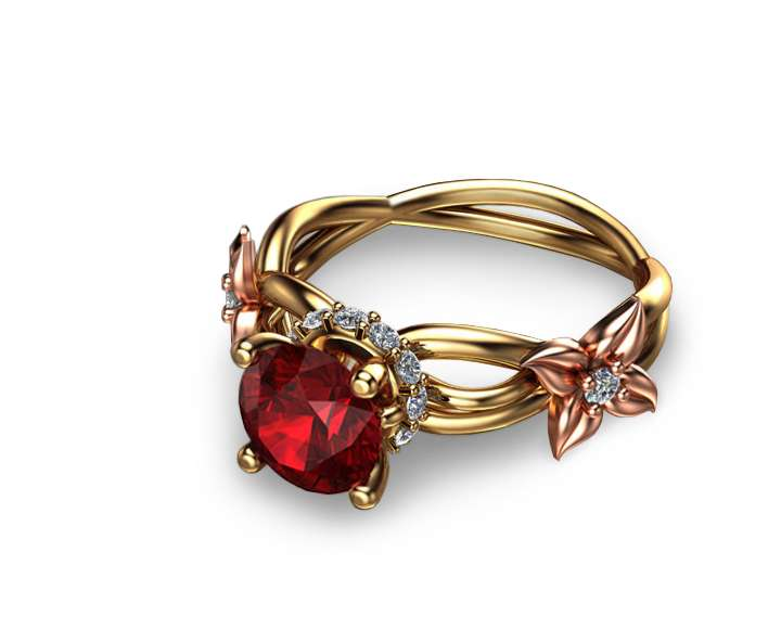 Natural 1.5CT Ruby Engagement Ring 14K Two Tone Gold Engagement Ring Floral Ruby Ring