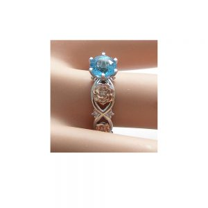 14k White Gold Floral Wedding Ring Bridal Set 1ct Blue Topaz Engagement Ring Diamond Wedding Band