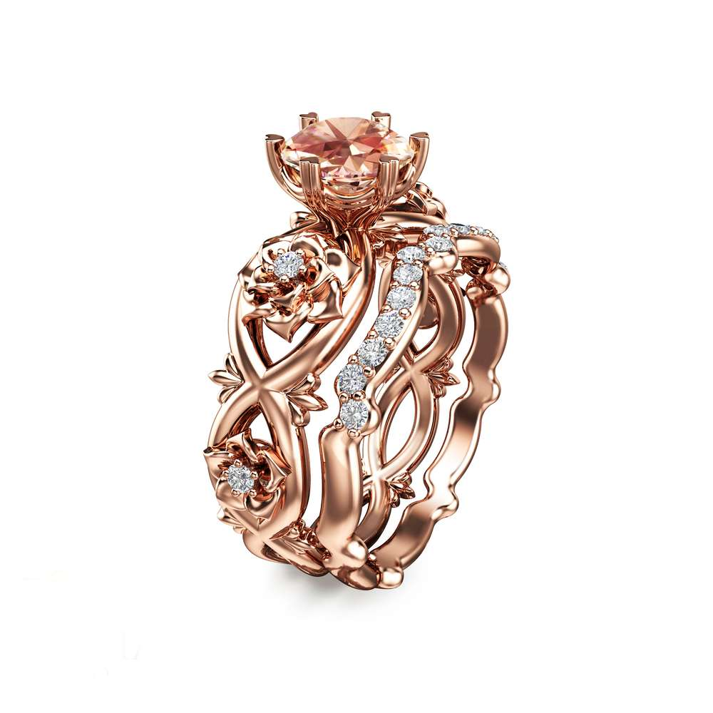 14K Rose Gold Morganite Engagement Ring Rose Gold Bridal Set Rings Diamond Engagement Ring Unique Engagement Ring