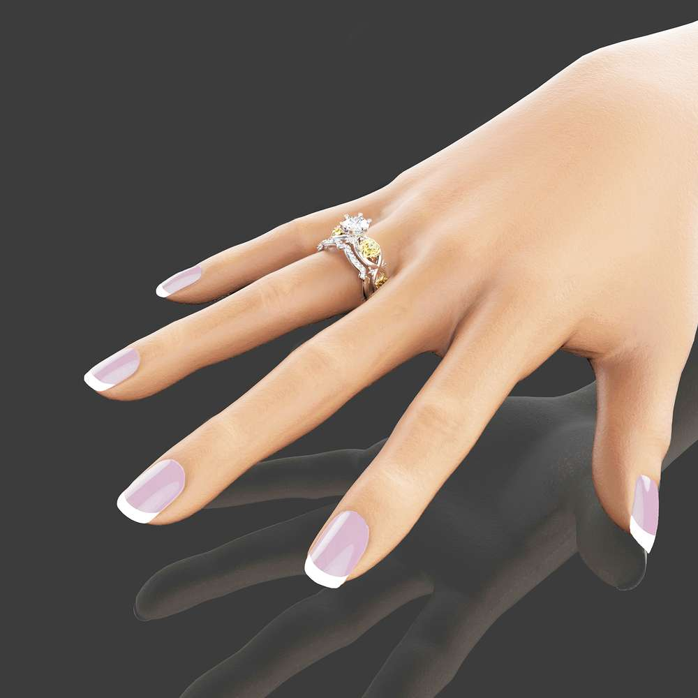 Moissanite Engagement Ring Set 14K Two Tone Gold Flower Rings Unique Moissanite Engagement Rings