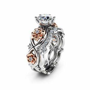 Floral Moissanite Engagement Ring Set 14K Two Tone Gold Flower Rings Unique Moissanite Engagement Rings