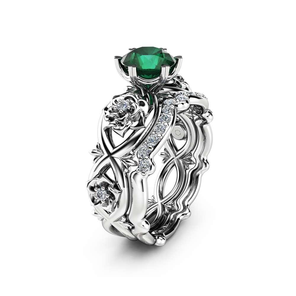 Floral Emerald Engagement Ring Set 14K White Gold Rings Emerald Engagement Rings Choose Your 1 CT Gemstone Ring