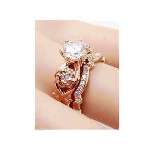 Unique Diamond Promise Rings Rose Gold Ring Set Real Diamond Engagement Rings Wedding Gift