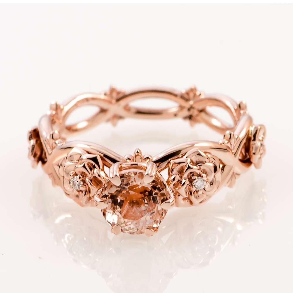 14K Rose Gold Morganite Bridal Set Rose Gold Bridal Set Morganite Bridal Set Engagement Rings Set