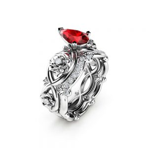 Pear Cut Ruby Engagement Ring 14K White Gold Flower Rings Pear Shaped Ruby Ring Set July Birthstone