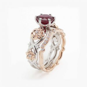 Floral Ruby Engagement Ring Set 14K White & Rose Gold Matching Rings Ruby Ring with Diamond Matching Band