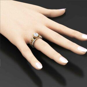 Floral Moissanite Engagement Ring Unique 14K Two Tone Gold Moissanite Ring Diamond Moissanite Engage