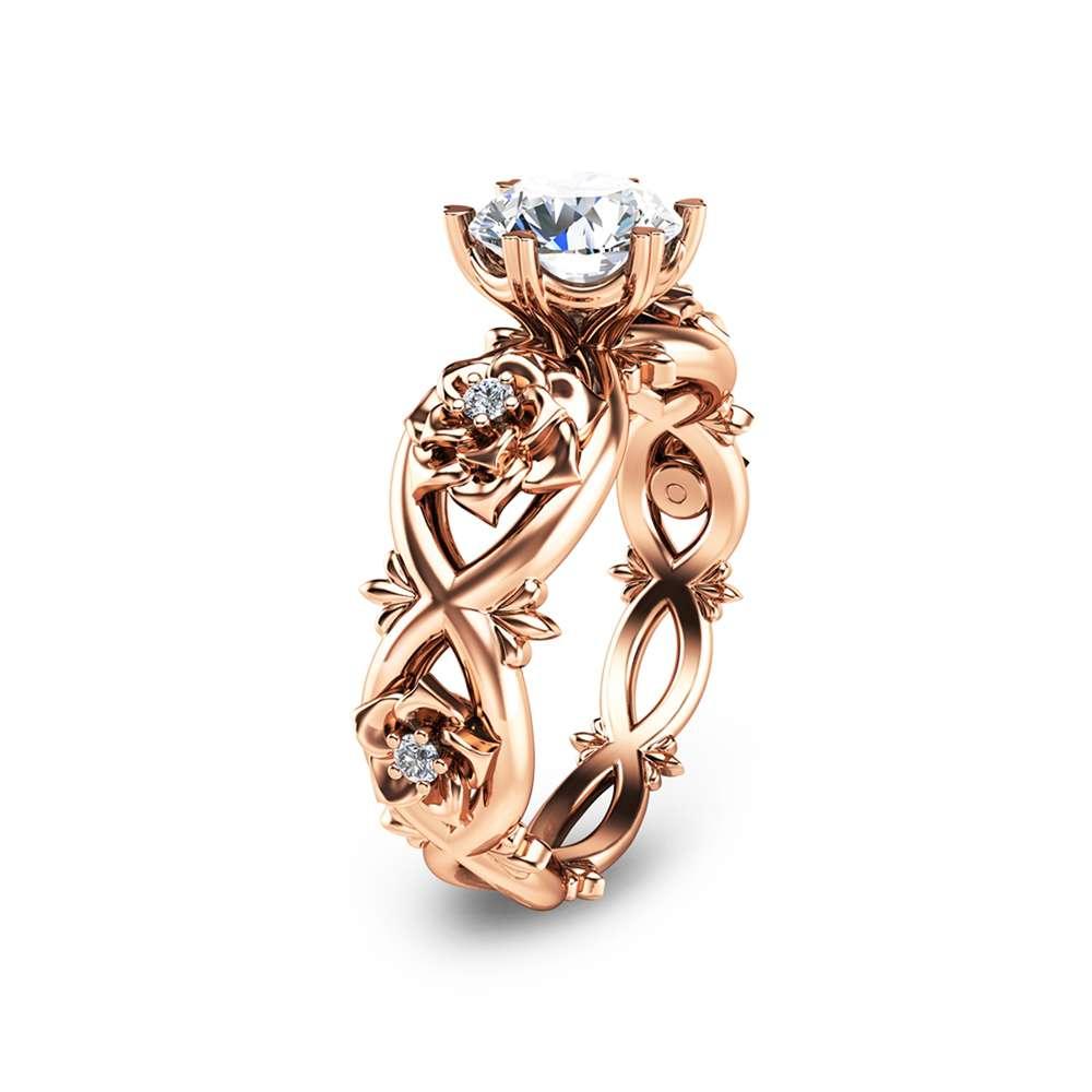 Rose Gold Moissanite Engagement Ring Unique Moissanite Engagement Ring Diamond Moissanite Ring
