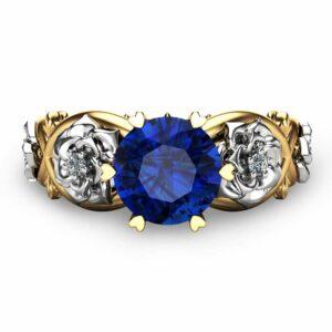 Unique Engagement Ring Blue Sapphire Engagement Ring 14K Two Tone Gold Natural Blue Sapphire Ring
