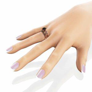 Black Diamond Engagement Ring Set 14K Rose Gold Floral Set 1 Carat Black Diamond Ring with Matching Band