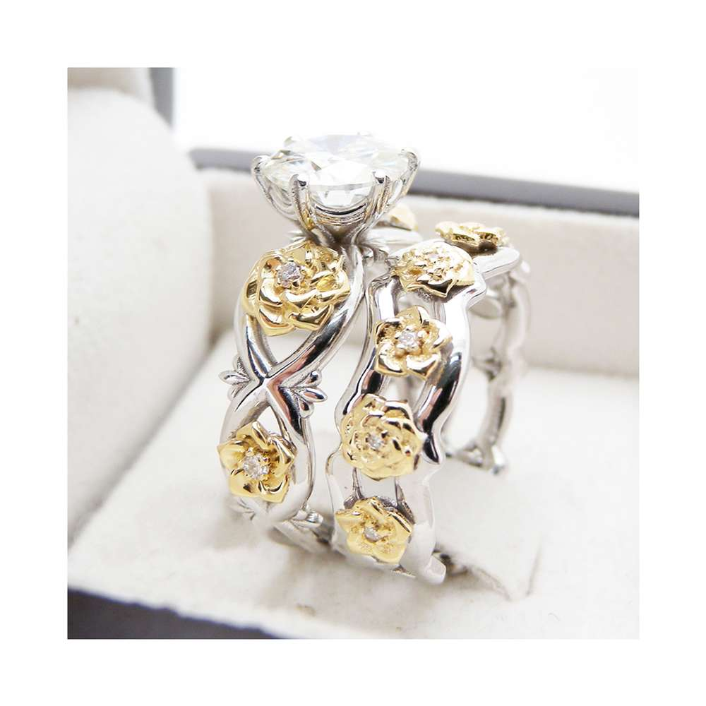 Floral 2ct Moissanite Engagement Ring Set Two Tone Gold Flower Rings Unique Moissanite Engagement Rings
