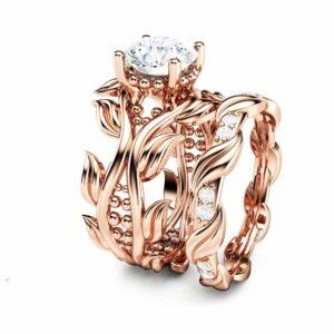 Moissanite Leaves Engagement Ring Set Unique 14K Rose Gold Leaves Rings 7.5mm Moissanite Engagement Ring Set