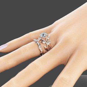 Moissanite Leaves Engagement Ring Set Unique 14K Rose Gold Leaves Rings 7.5mm Moissanite Engagement Ring Set
