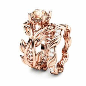 Peach Pink Morganite Leaf Engagement Ring Set Unique 14K Rose Gold Bridal Set Nature Inspired Wedding Ring Set Art Deco Engagement Rings