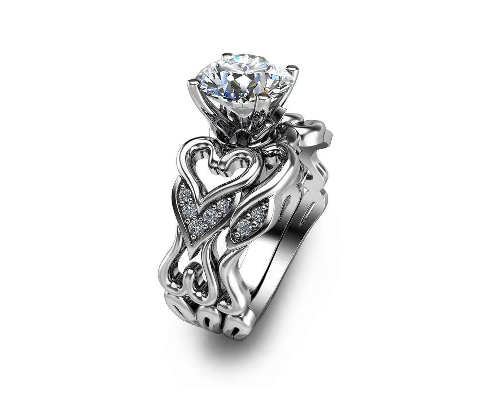 Moissanite Heart Engagement Ring Set 14K White Gold Moissanite Rings Unique Heart Engagement Rings