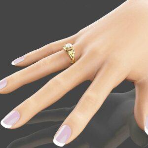 Moissanite Unique Engagement Ring 14K Yellow Gold Flower Ring Moissanite Engagement Ring