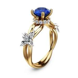 Natural 1.5CT Sapphire Engagement Ring 14K Two Tone Gold Engagement Ring Floral Sapphire Ring