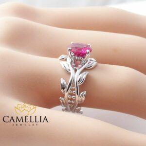 Leaf Ring 14K White Gold Ruby Ring Ruby Engagement Ring Ruby Ring Gold Leaf Ring