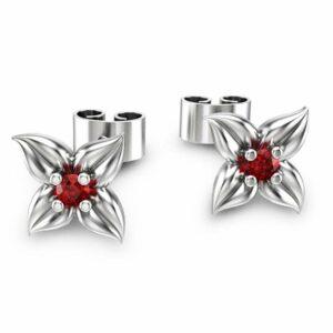 14K White Gold Ruby Stud Earrings Flower Earrings Unique Earrings