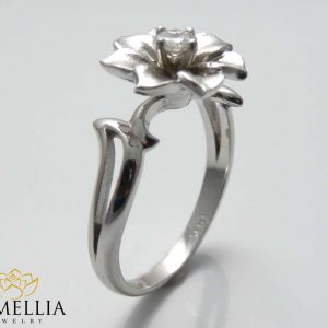 Flower Gold Diamond Wedding Ring Leaf and Flower Diamond Ring Unique Engagement Ring Christmas Gifts Ring