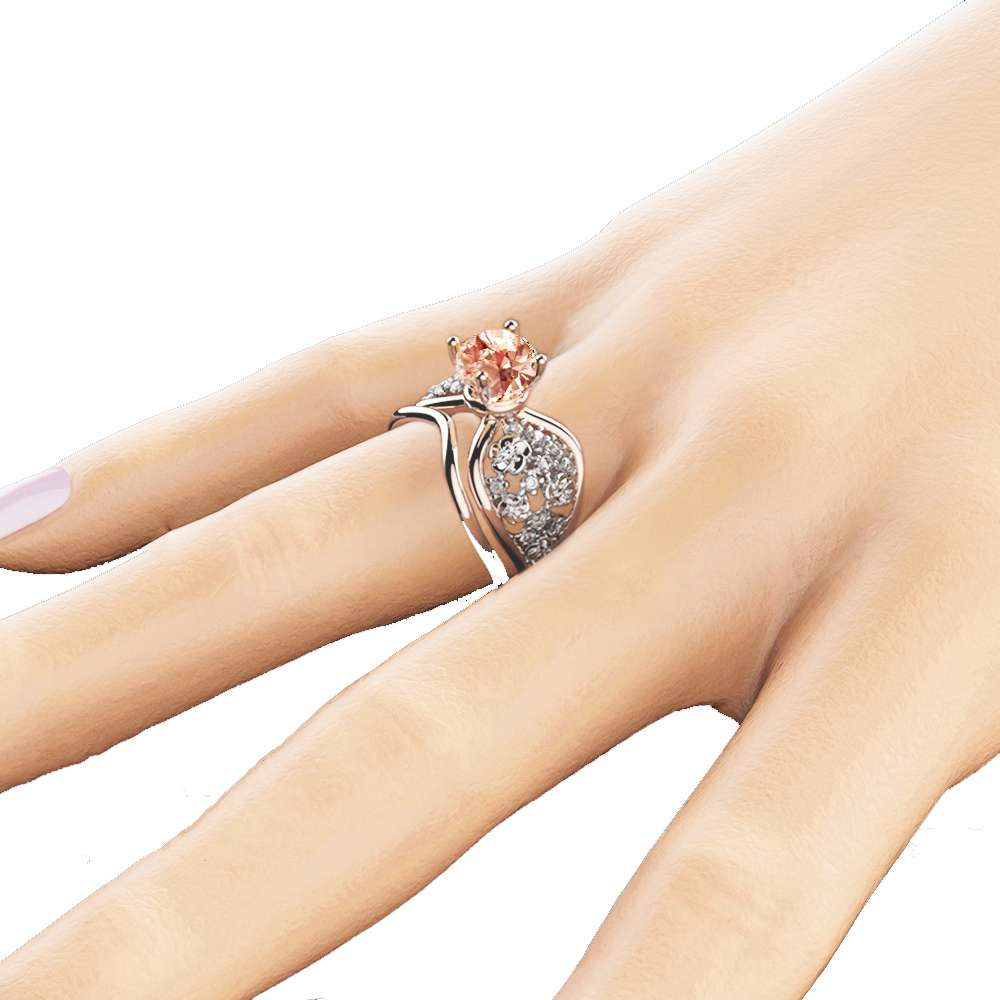 Unique Two tone Gold Engagement Rings 14K Diamond Bridal Set Ring Peach Pink Morganite Ring
