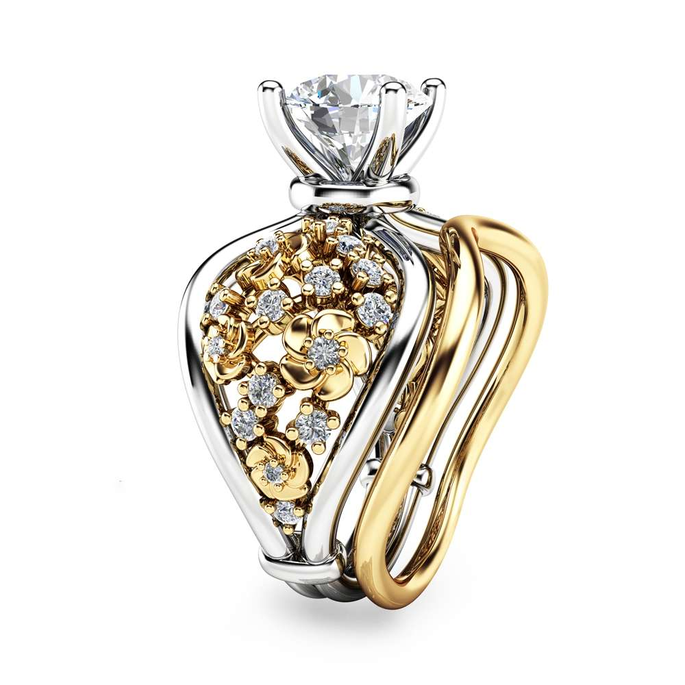 Two Tone Gold Moissanite Engagement Rings Flower Ring Set Moissanite Engagement Ring with Matching Band