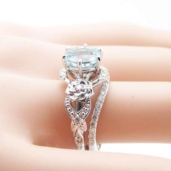 Unique Aquamarine Engagement Ring Set 14K White Gold 2 Carat Aquamarine Rings Art Deco Engagement Ring Floral Ring Set