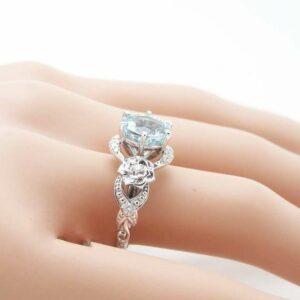 Unique Aquamarine Engagement Ring 14K White Gold 2 Carat Aquamarine Ring Art Deco Engagement Ring Floral Ring