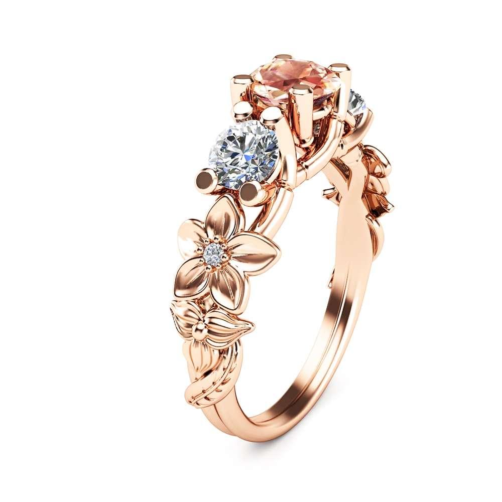 Three Stone ring 14K Rose Gold Morganite Ring Moissanite Engagement Ring Unique 3-Stone Diamond Ring