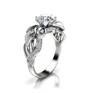 Calla Lily Moissanite Engagement Ring 14K White Gold Moissanite Ring Unique Engagement Ring