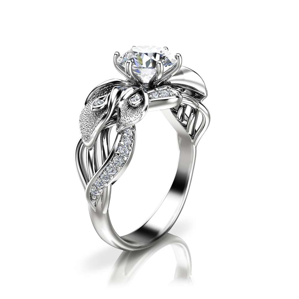Calla Lily Moissanite Engagement Ring 14K White Gold Moissanite Ring Unique Engagement Ring