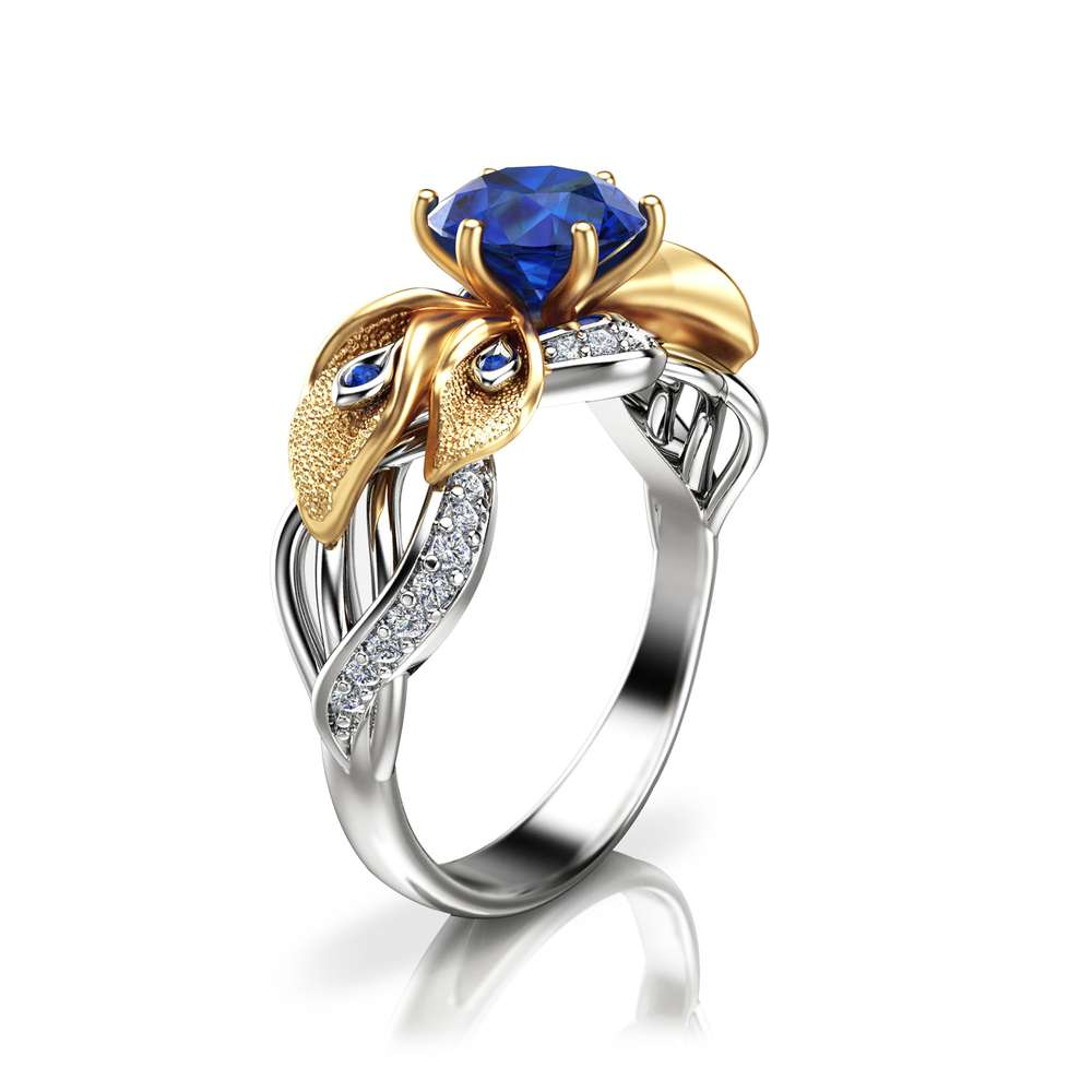 Calla Lily Sapphire Engagement Ring Two Tone Gold Sapphire Ring Unique Engagement Ring