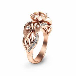 14K Rose Gold Morganite Engagement Ring Calla Lily Design Morganite Ring Unique Flower Ring Nature Inspired Engagement Ring