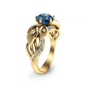 Blue Diamond Engagement Ring Unique Flower 14K Yellow Gold Ring Calla Lily Engagement Ring