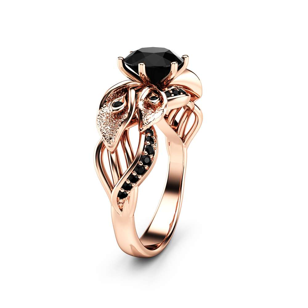 Calla Lily Black Diamond Engagement Ring 14K Rose Gold Diamond Ring Floral Engagement Ring