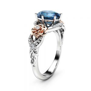 Oval Topaz Engagement Ring 14K Two Tone Gold Engagement Ring Topaz Floral Ring