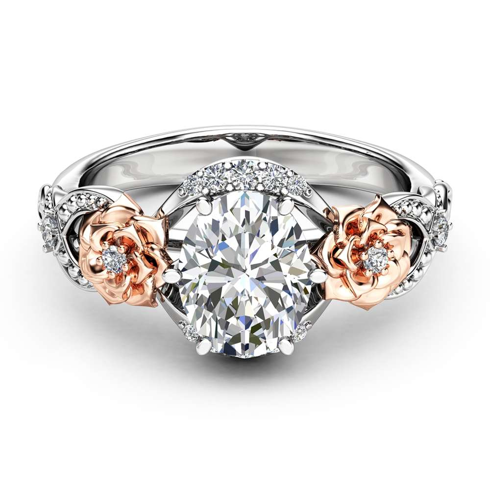 Oval Moissanite Engagement Ring 14K Two Tone Gold Engagement Ring Moissanite Ring