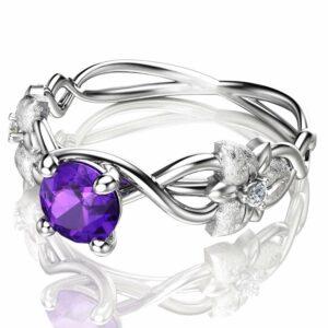 14K White Gold Amethyst Engagement Ring Flower Design Amethyst Ring Nature Inspired Engagement Ring Unique Alternative Ring