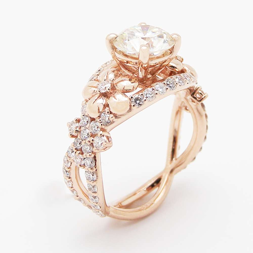 Unique Moissanite Engagement Ring 14k Rose Gold Flower Ring Diamond Moissanite Engagement Ring Camellia Jewelry