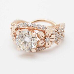 Unique Moissanite Engagement Ring 14K Rose Gold Flower Ring Diamond Moissanite Engagement Ring