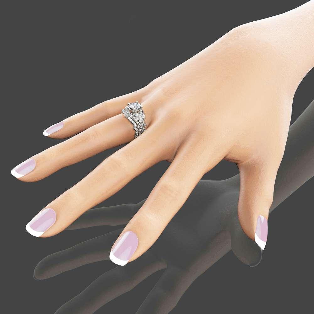 Moissanite Flower Engagement Ring Set 14K White Gold Moissanite Diamond Rings Flower Engagement Rings