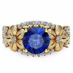 Unique Blue Sapphire Engagement Ring 14K Yellow Gold Flower Ring Natural Sapphire Engagement Ring